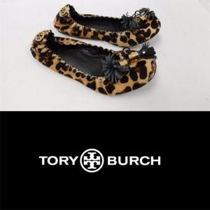 TORY BURCH Leopard Calf Hair Reese Ballet Flats